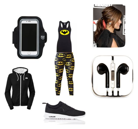 """""""Batman work out outfit"""" by starwars3340 on Polyvore featuring PhunkeeTree, Forever 21, The North Face and NIKE"""