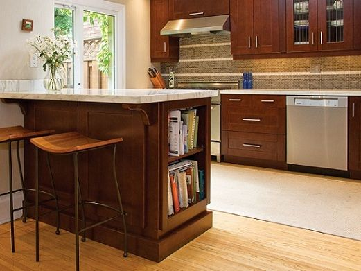 Bookshelf on end of peninsula how to finish under for Galley kitchen designs with peninsula