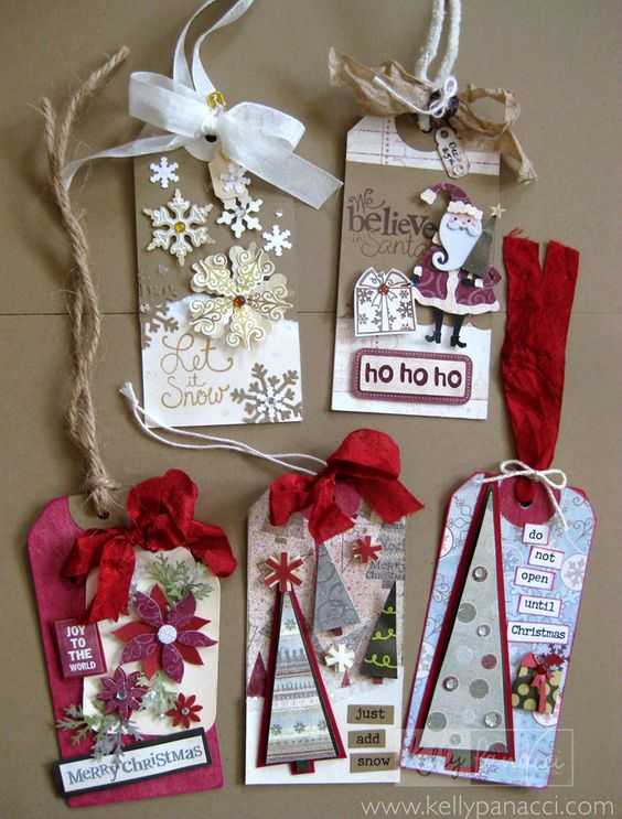 #papercraft #Christmas #Tags from Manilla Shipping Tags: http://www.kellypanacci.typepad.com/: