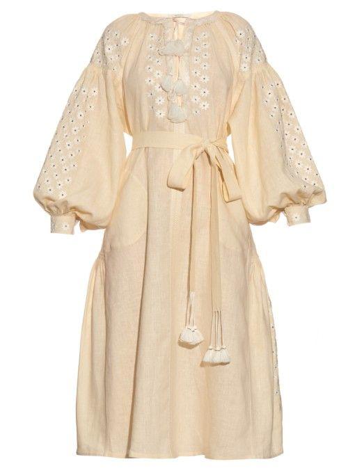 Vita Kin Little Flowers-embroidered linen dress