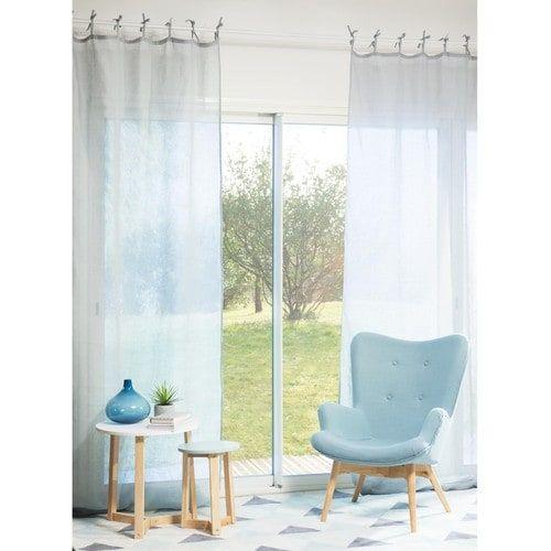 Rideau en lin bleu nuage 105 x 300 cm