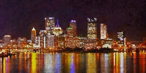Pittsburgh Skyline at night, from across the Monongahela River - http://www.1pic4u.com/blog/2014/09/05/pittsburgh-skyline-at-night-from-across-the-monongahela-river/