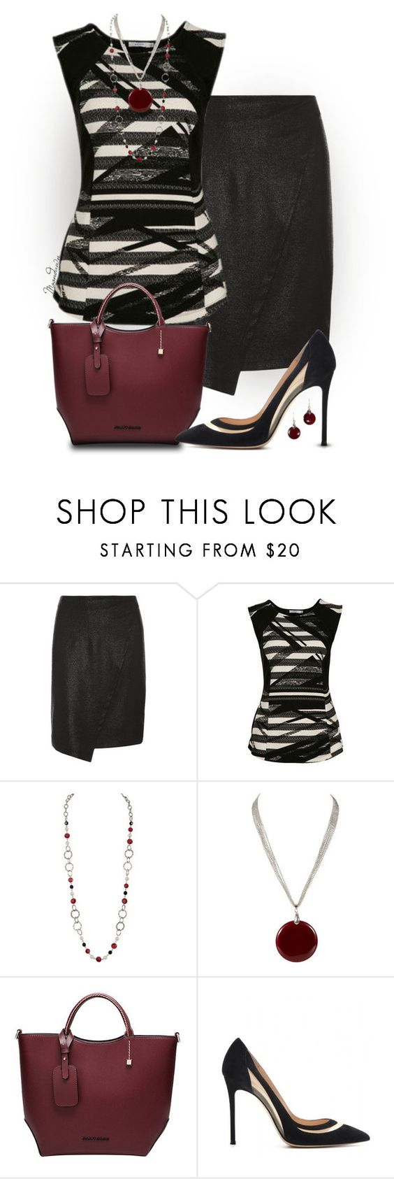"""""""#153"""" by moondawn ❤ liked on Polyvore featuring Dorothy Perkins, Gianvito Rossi, white, black, red and Silver"""