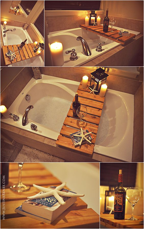 my amazingly wonderful husband made me a tub table for my bath tub! I am in LOVE! <3 www.justinerenee.com this project was ONLY $6 just (2) 1x4x8 cedar planks + stain from lowes.: