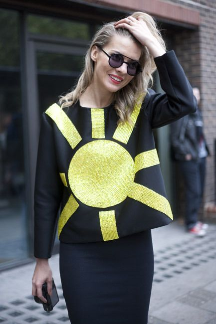 Make a statement in a sequinned sun sweater #LFW | The Daily Gloss