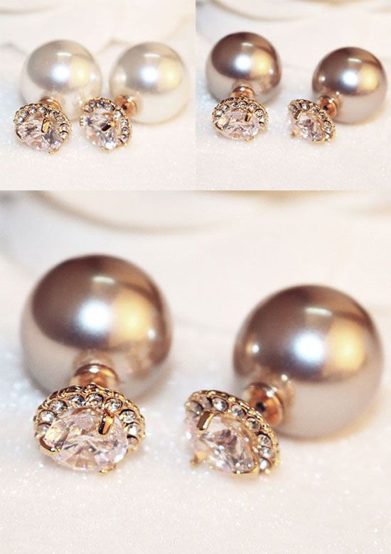 Fashion Elegant Jewelry Crystal Double Sided Pearl Earings Ear Stud Ball Beads