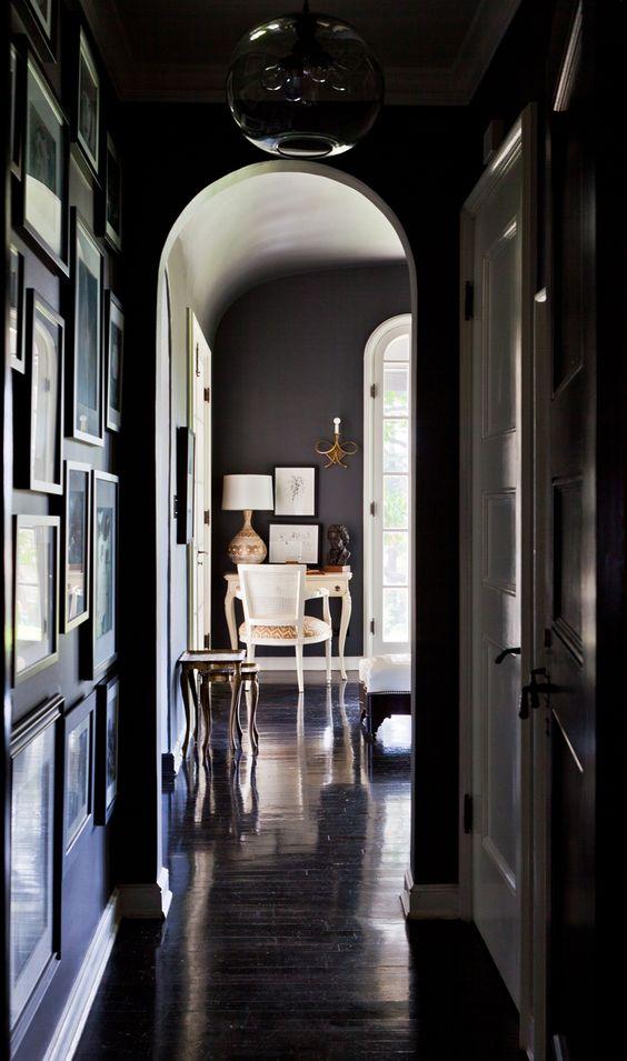 dark.  sexy.: Wall Colors, Interior Design, Dark Rooms, Black Walls, Black Hallway, Dark Walls, Living Room, Dark Hallways, Room Darker