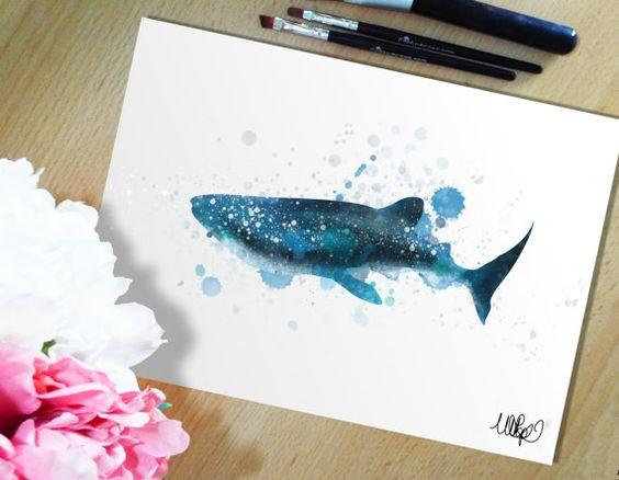 La ballena tiburón acuarela pintura estilo pared imprimir. Tiburón la semana Ooh…