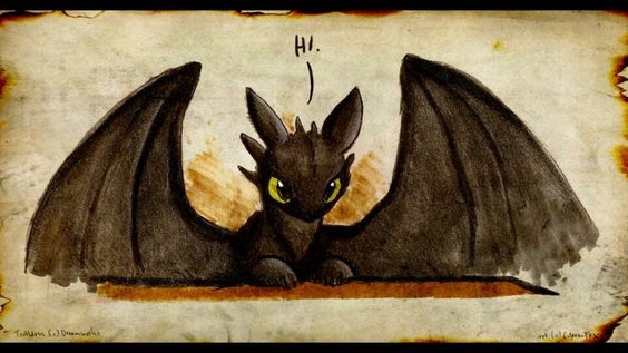 Drawing of little Toothless