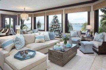 Stunning Coastal Living Room Decoration Ideas 17 Homyhomee Beach House Living Room Beach House Furniture Christmas Living Rooms