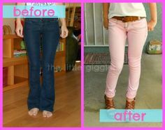 How to turn dark jeans into pastel ones... I dont even want to pin this because it will tell everyone my secret! This is so cool!