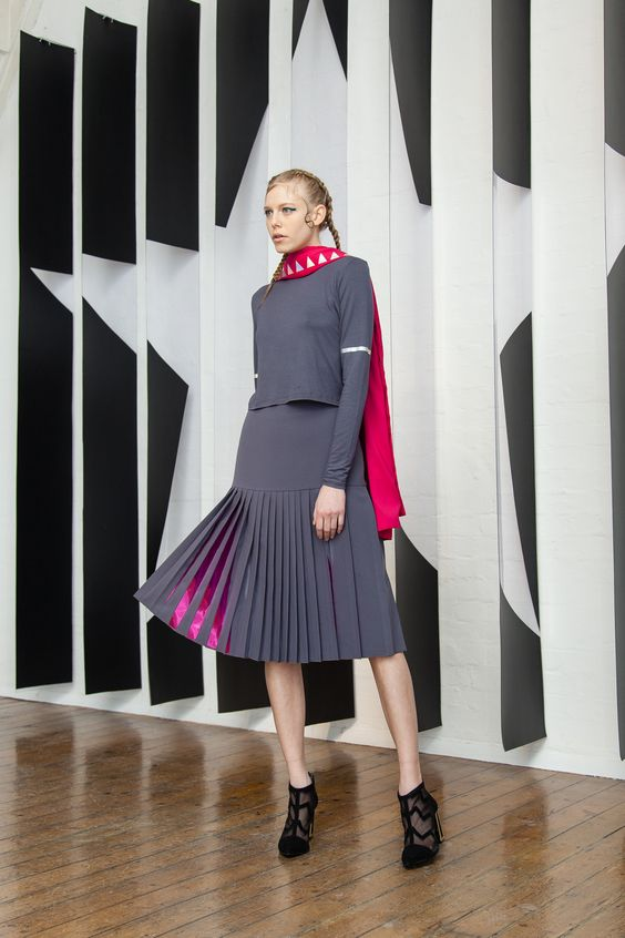 AW15 LFW Presentation - Georgia Hardinge, a sculptural fashion label inspired by architecture and innovative pleating techniques.