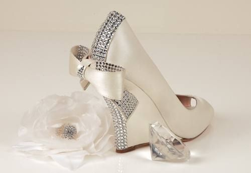 Diamonte wedding shoes, wedges, pretty bow detail