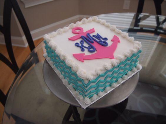 Square Chevron Anchor Monogram Cake