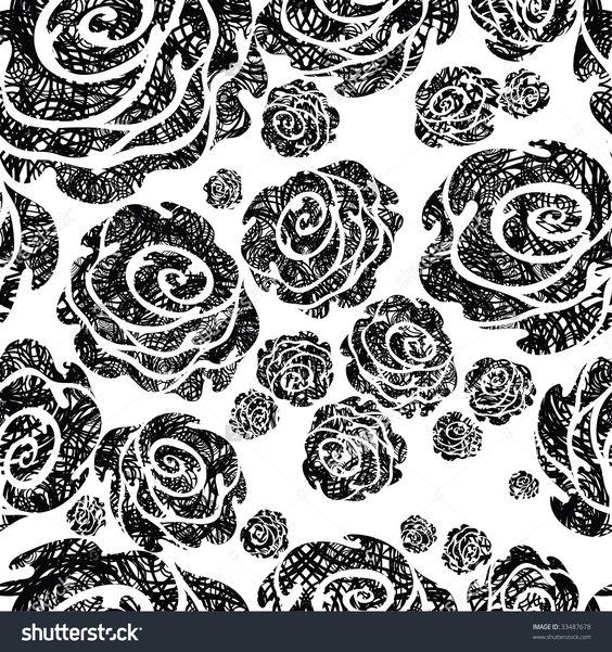 "Seamless Black Grunge Rose Pattern (From My Big ""Seamless Collection"") Banco de ilustração vetorial 33487678 : Shutterstock"