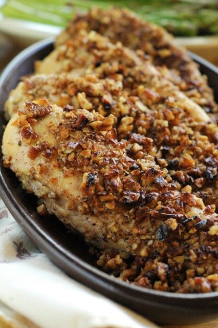 Pecan Crusted Chicken: This quick-and-easy-dinner recipe will have you looking like you've worked all day on dinner! 3 ingredients, under 30...
