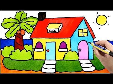 Kids Painting House Draw And Color My Room Tree Window Youtube Painting For Kids House Drawing Drawing For Kids