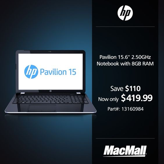 Save 21% on an #HP Pavilion 2.5GHz notebook with 8GB RAM at MacMall. #DailyDeal