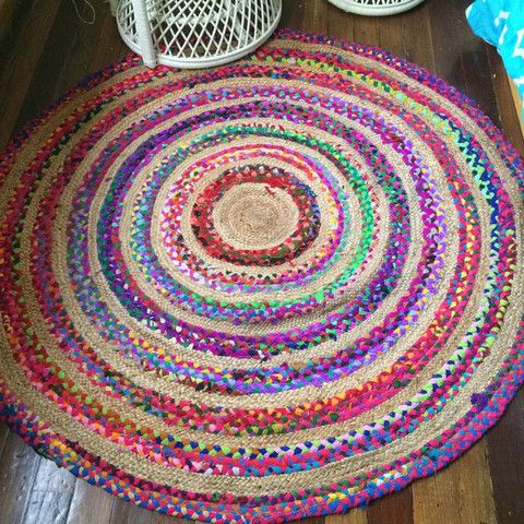 pinwheel colourful braided hemp round floor rug  finders keepers, Rug/