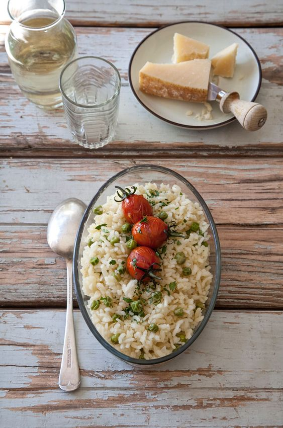 Pea and baked onion risotto