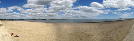 Panoramic photo of Wollaston Beach in Quincy MA.  Taken with an iPhone 5. Photo by Karen Elizabeth Carpenter.