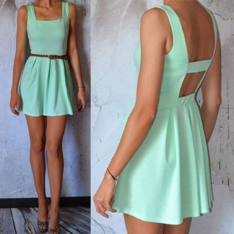 Blair I think you would like this since it's open back dresses and I love the mint color so i think you would love this too it's perfect for summer please repin this and I would appreciate that..   @Blair Fowler @Elle Fowler #ElleFowler #BlairFowler #OpenBackDresses  P.S Elle show this to your sister Blair I think she would love this! :)  -Maritoni <3