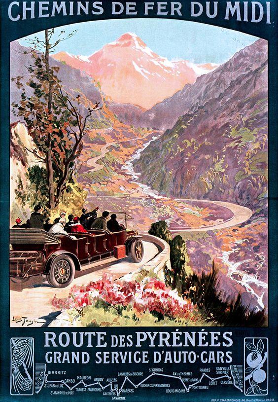 Affiche chemin de fer du midi - Route des Pyrénées - illustration de Louis Tauzin - France -