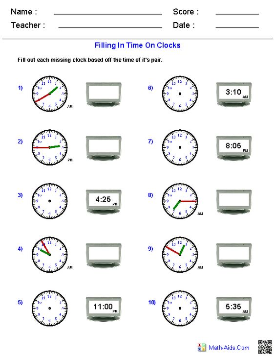 Reading Analog and Digital Clocks Worksheets | Math-Aids.Com ...