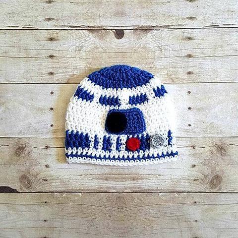 Crochet Baby R2D2 Hat Beanie Star Wars Newborn Infant Toddler Child Adult Costume Photography Photo Prop - Red Lollipop Boutique