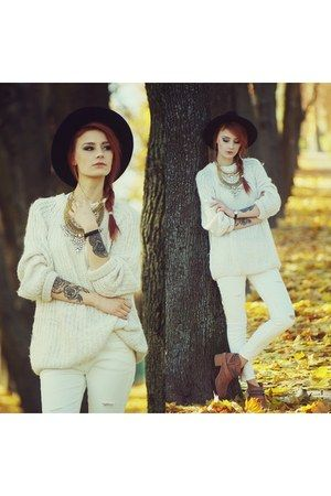 ivory Sheinside sweater Women's casual fall fashion clothing outfit all ivory jeans sweater black hat