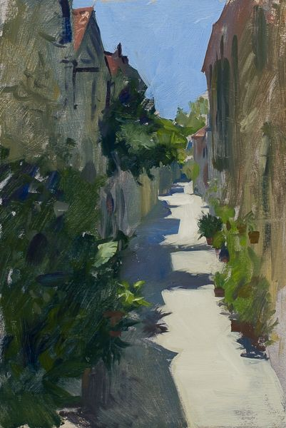 Plein air landscape painting of Ston, Croatia.