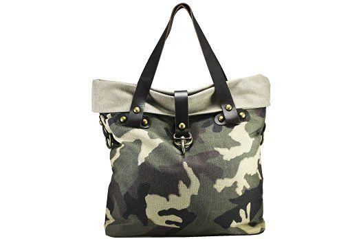 FERETI Canvas und Grün braun beige echt Leder camouflage damen tasche groß