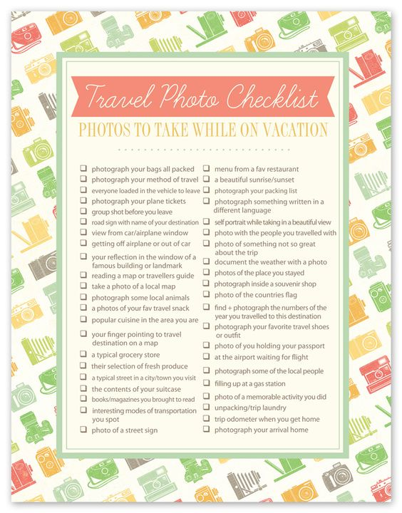 Travel Photo Checklist | cute! Awesome idea for scrapbooking.