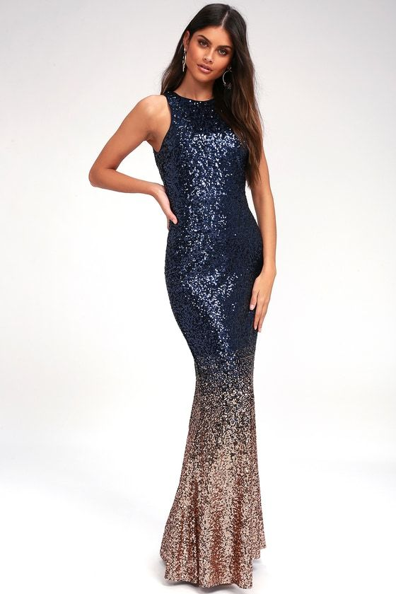 Infinite Dreams Rose Gold And Navy Blue Ombre Sequin Maxi Dress Navy And Gold Dress Navy Blue Bridesmaid Dresses Navy Bridesmaid Dresses