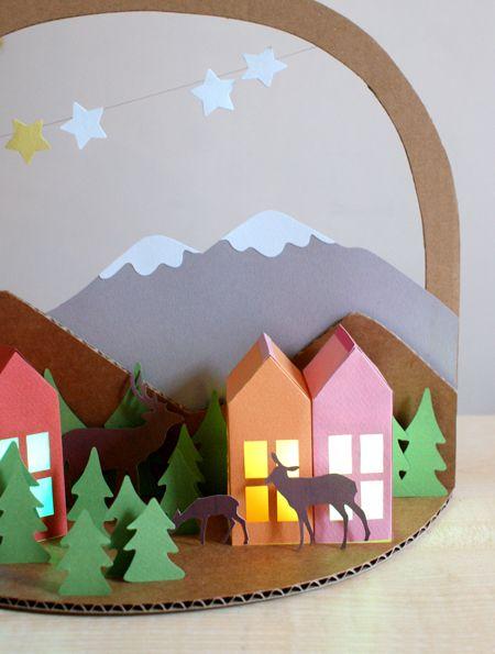 des id es de d corations de no l en papier une for t des ours polaires des sapins une. Black Bedroom Furniture Sets. Home Design Ideas