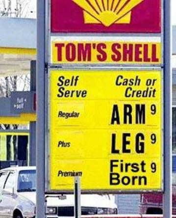 Humor-when gas prices soared, some chose to deal with it through humor