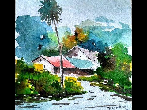 An Indian Landscape In Watercolor Watercolor Landscape Paintings