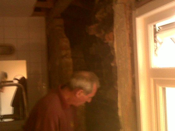 Toby and Dad  smash down aforemetnioned incongrous wall (toby whilst holding BB from a a safe distance)