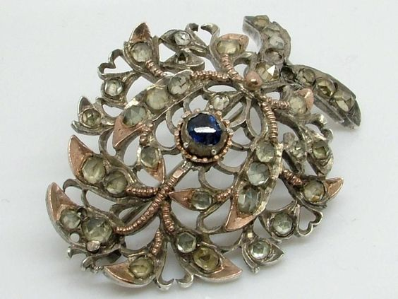 Antique Georgian Silver & Sapphire Jargoon Pin Brooch Sold For $134 (missing stone)