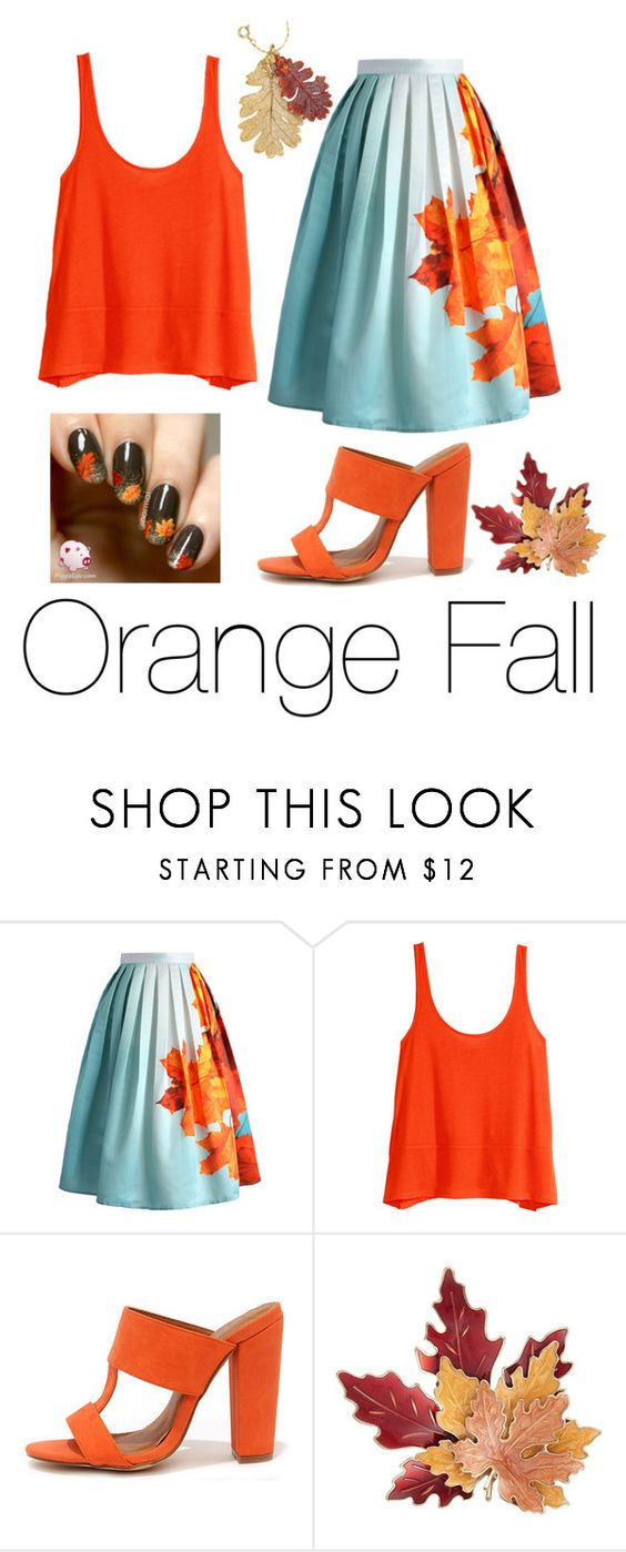 """""""Orange Fall"""" by mintylynn ❤ liked on Polyvore featuring Chicwish, H&M, Croft & Barrow and Natures Jewelry"""