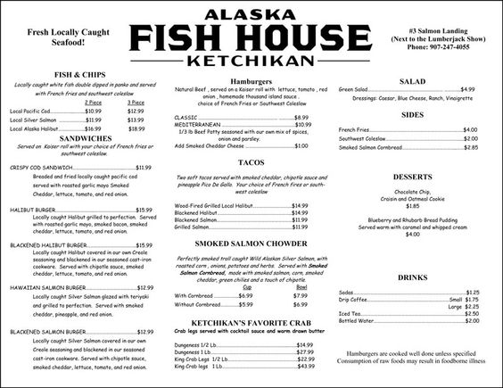 The fish house menu ketchikan alaska seafood for The fish house menu