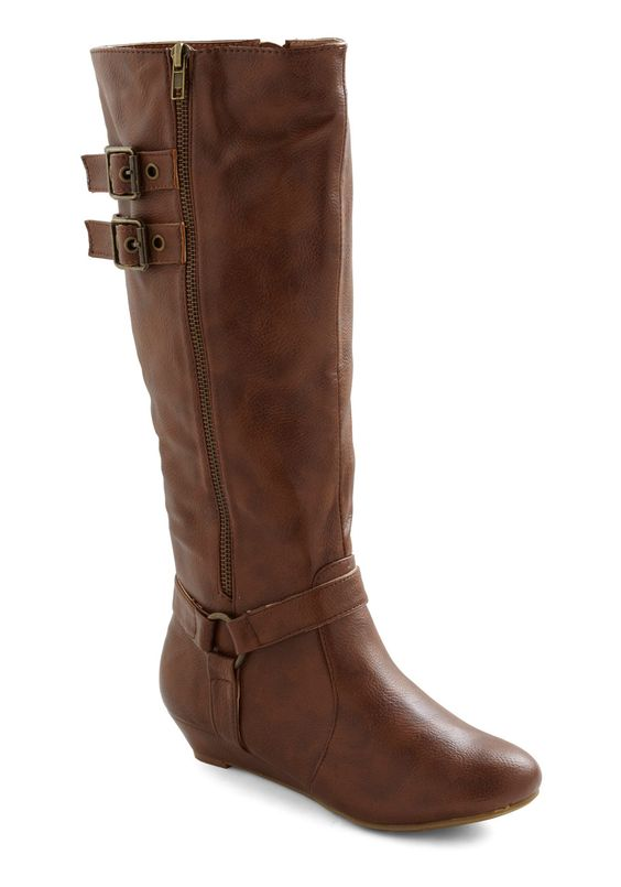 Strappy Young Lass Boot - Brown, Solid, Buckles, Casual, Military, Rustic, Fall .... cute!