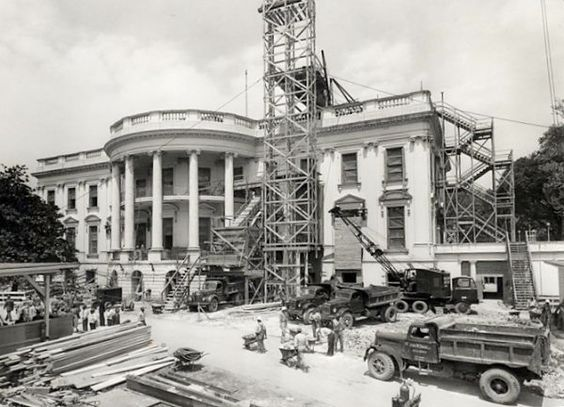 the white house being modernized during the early 1950's