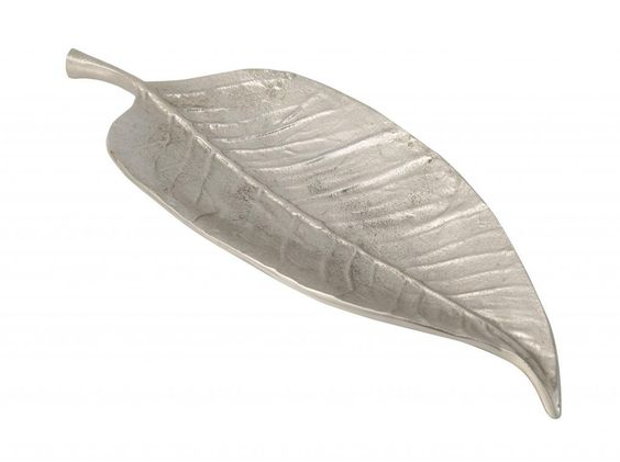 Homescapes XXL Dekoschale Metall Blatt Design Dekoteller länglich silber massives Aluminium