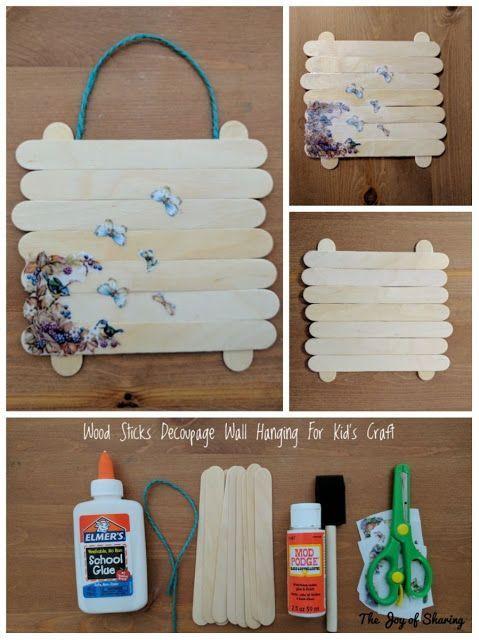 Decoupage Wood Sticks Wall Hanging For Kids Craft