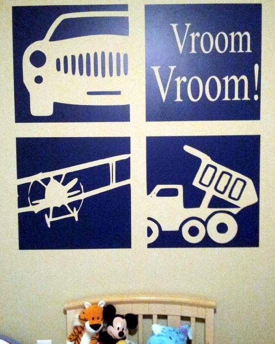 Custom vinyl decal trucks and planes for a little boys room. Very cute design idea. https://www.etsy.com/listing/105405530/custom-vinyl-lettering-vinyl-decals?ref=shop_home_active