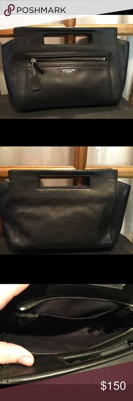 Coach Legacy black leather basket clutch Beautiful legacy leather - nickel hard wear,  from coach's best collection ever- evening clutch, 1 slight pocket inside this purse otherwise open, zippered closure, 1 outside zippered pocket as well Coach Bags Clutches & Wristlets