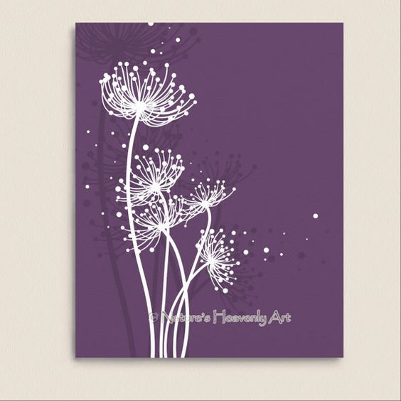 Purple Wall Decor Abstract Dandelion Art Print 8 x 10, Choose Your Color Customizable Nature Inspired Wall Art (175)