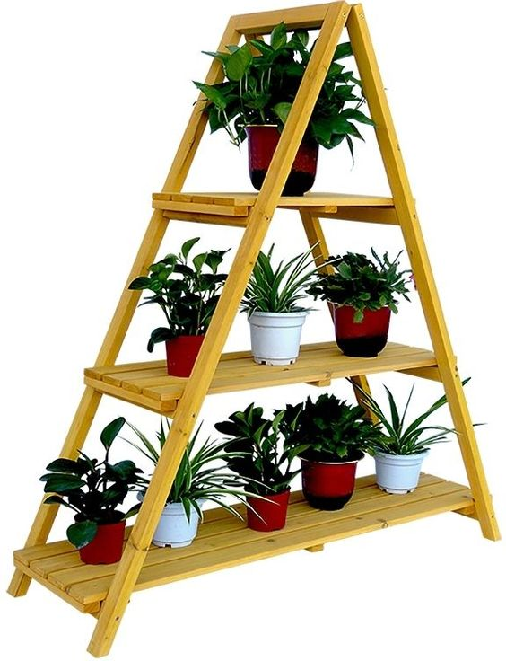 Wooden Ladder Plant Stand Outdoor Indoor Three Layer Shelf