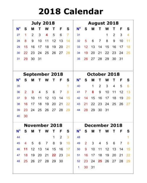6 Month One Page Calendar 2018 Printable Maxcalendars Calendar